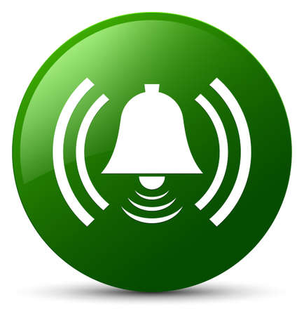 Alarm icon isolated on green round button abstract illustration