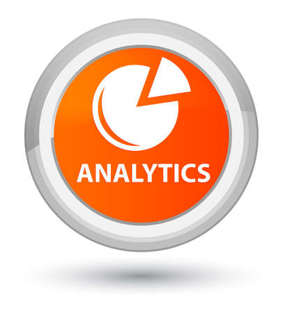 Analytics (graph icon) isolated on prime orange round button abstract illustration