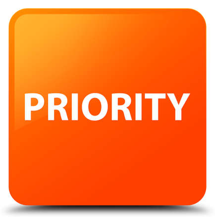 Priority isolated on orange square button abstract illustration