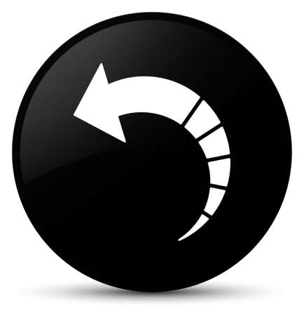Back arrow icon isolated on black round button abstract illustration Фото со стока