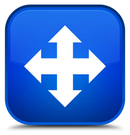Move icon isolated on special blue square button abstract illustration
