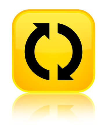 Update icon isolated on special yellow square button reflected abstract illustration Stock Photo