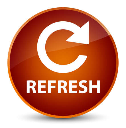 Refresh (rotate arrow icon) isolated on elegant brown round button abstract illustration