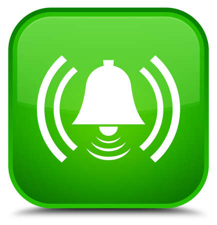 Alarm icon isolated on special green square button abstract illustration