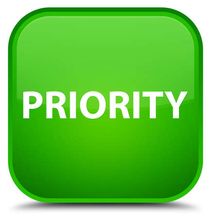 Priority isolated on special green square button abstract illustration Reklamní fotografie