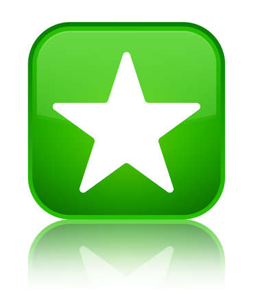 Star icon isolated on special green square button reflected abstract illustration