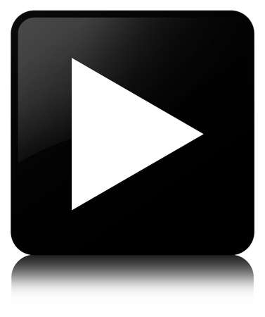 Play icon isolated on black square button reflected abstract illustration