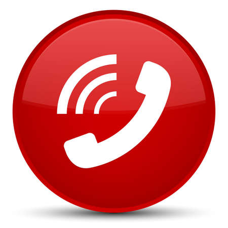 Phone ringing icon isolated on special red round button abstract illustration