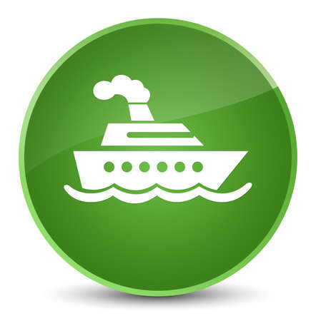 Cruise ship icon isolated on elegant soft green round button abstract illustration