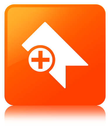 Bookmark icon isolated on orange square button reflected abstract illustration