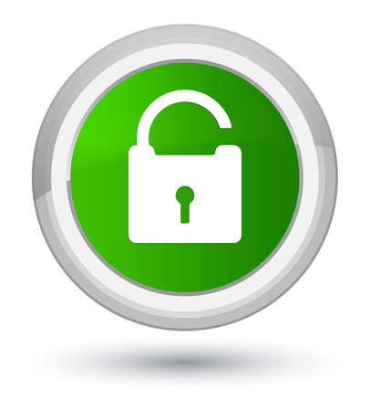 Unlock icon isolated on prime green round button abstract illustration