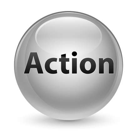 Action isolated on glassy white round button abstract illustration