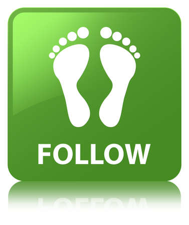 Follow (footprint icon) isolated on soft green square button reflected abstract illustration