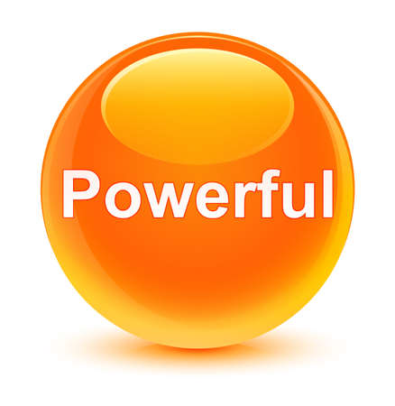 Powerful isolated on glassy orange round button abstract illustration 版權商用圖片