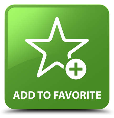 Add to favorite isolated on soft green square button abstract illustration Stock Photo