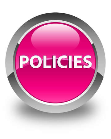 Policies isolated on glossy pink round button abstract illustration