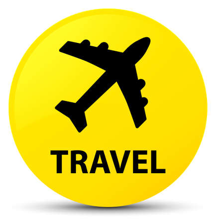 Travel (plane icon) isolated on yellow round button abstract illustration
