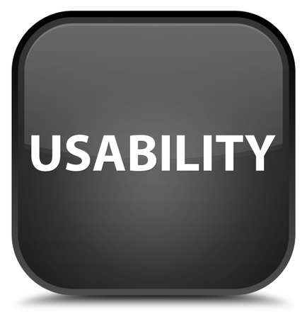 Usability isolated on special black square button abstract illustration Stock Photo