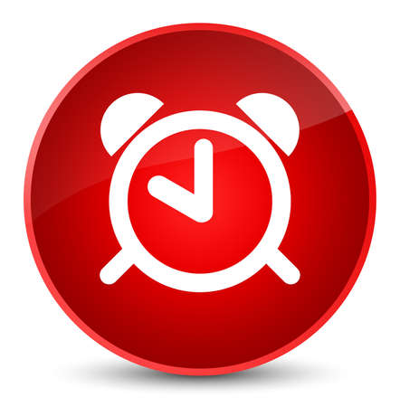 Alarm clock icon isolated on elegant red round button abstract illustration Stock Photo