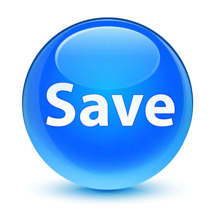 Save isolated on glassy cyan blue round button abstract illustration