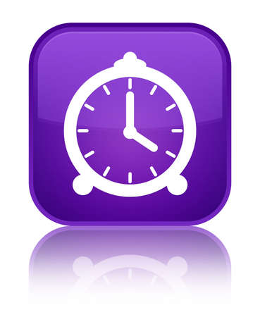 Alarm clock icon isolated on special purple square button reflected abstract illustration