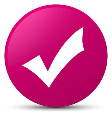 Icône de validation isolé sur illustration abstraite du bouton rond rose