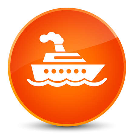 Cruise ship icon isolated on elegant orange round button abstract illustration