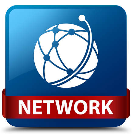 Network (global network icon) isolated on blue square button with red ribbon in middle abstract illustration