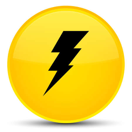 Electricity icon isolated on special yellow round button abstract illustration