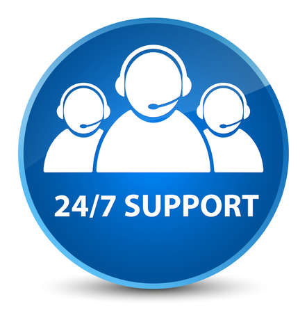 247 Support (customer care team icon) isolated on elegant blue round button abstract illustration Stock Photo