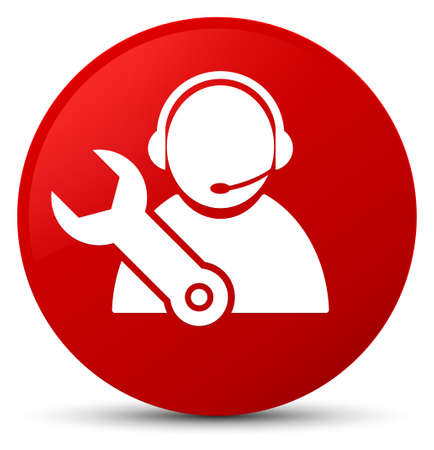 Tech support icon isolated on red round button abstract illustration Stock Photo