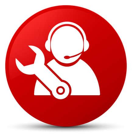 Technologieunterstützungsikone lokalisiert auf roter runder Knopfzusammenfassungsillustration Standard-Bild - 89726646