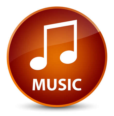 Music (tune icon) isolated on elegant brown round button abstract illustration Stock Photo