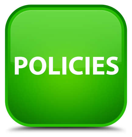 Policies isolated on special green square button abstract illustration