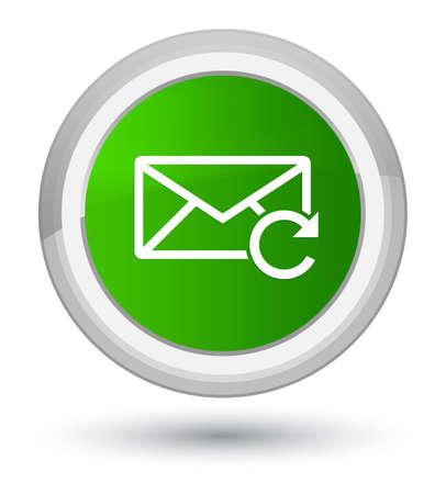 Actualizar el icono de correo electrónico aislado en la ilustración abstracta del botón redondo verde primordial Foto de archivo
