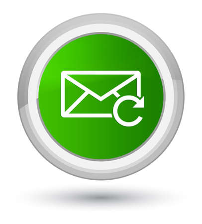Refresh email icon isolated on prime green round button abstract illustration