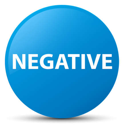 Negative isolated on cyan blue round button abstract illustration