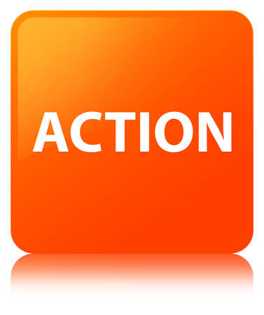 Action isolated on orange square button reflected abstract illustration
