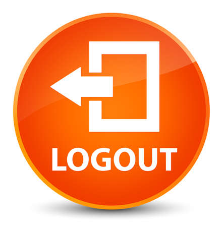 Logout isolated on elegant orange round button abstract illustration