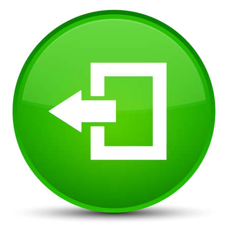 exit sign icon: Logout icon isolated on special green round button abstract illustration Stock Photo