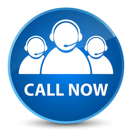 Call now (customer care team icon) isolated on elegant blue round button abstract illustration