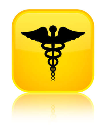 Medical icon isolated on special yellow square button reflected abstract illustration Stock Photo