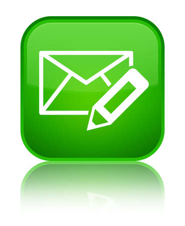 Edit email icon isolated on special green square button reflected abstract illustration
