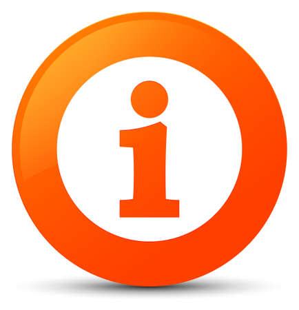 Info icon isolated on orange round button abstract illustration