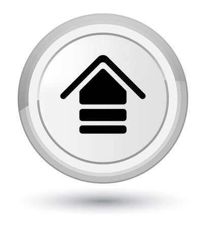 Upload icon isolated on prime white round button abstract illustration