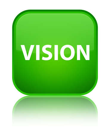 principles: Vision isolated on special green square button reflected abstract illustration