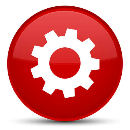 Process icon isolated on special red round button abstract illustration Stock Photo