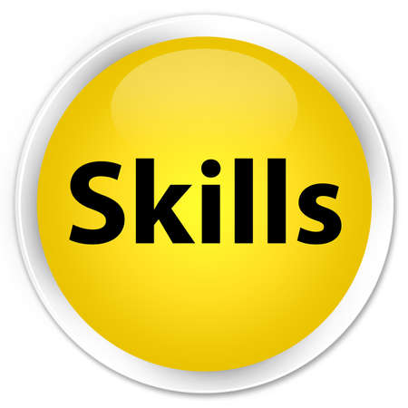 Skills isolated on premium yellow round button abstract illustration