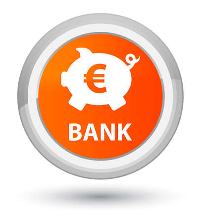 Bank (piggy box euro sign) isolated on prime orange round button abstract illustration