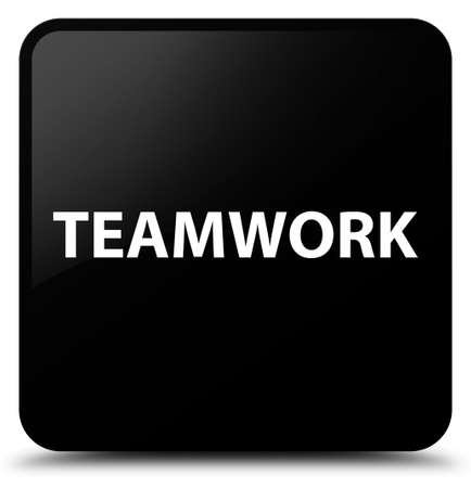 Teamwork isolated on black square button abstract illustration Stock Photo